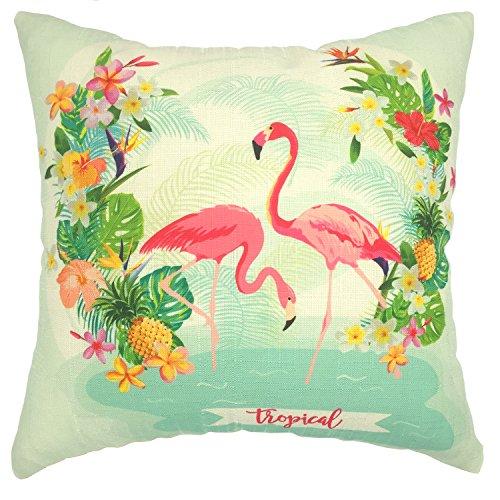 [YOUR SMILE-Flamingo Cotton Linen Square Cushion Covers Throw Pillow Covers Decorative 18 x 18] (Flamingo Throw)