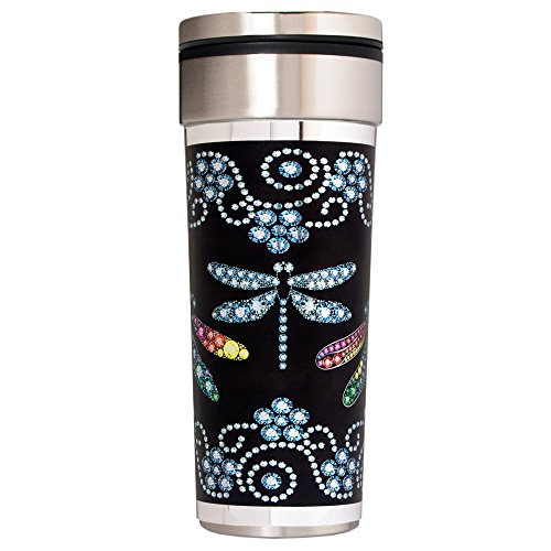 Great American Products Gemstone Dragonflies Travel Tumbler, 22-Ounce, Black/Silver