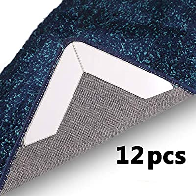 BOWERBIRD Rug Grippers Anti Curling and Non Slip Rug Gripper. Flatten Rug Corners, Stop Sliding - Ideal Alternative to Rug Pad, Carpet Tape and Rug Tape for Hard Floors (12 Pieces)