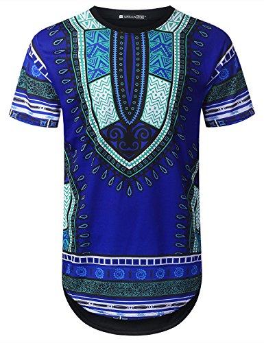 URBANTOPS Mens Hipster Hip Hop Ocean Dashiki Longline T-Shirt Blue, XL by URBANTOPS