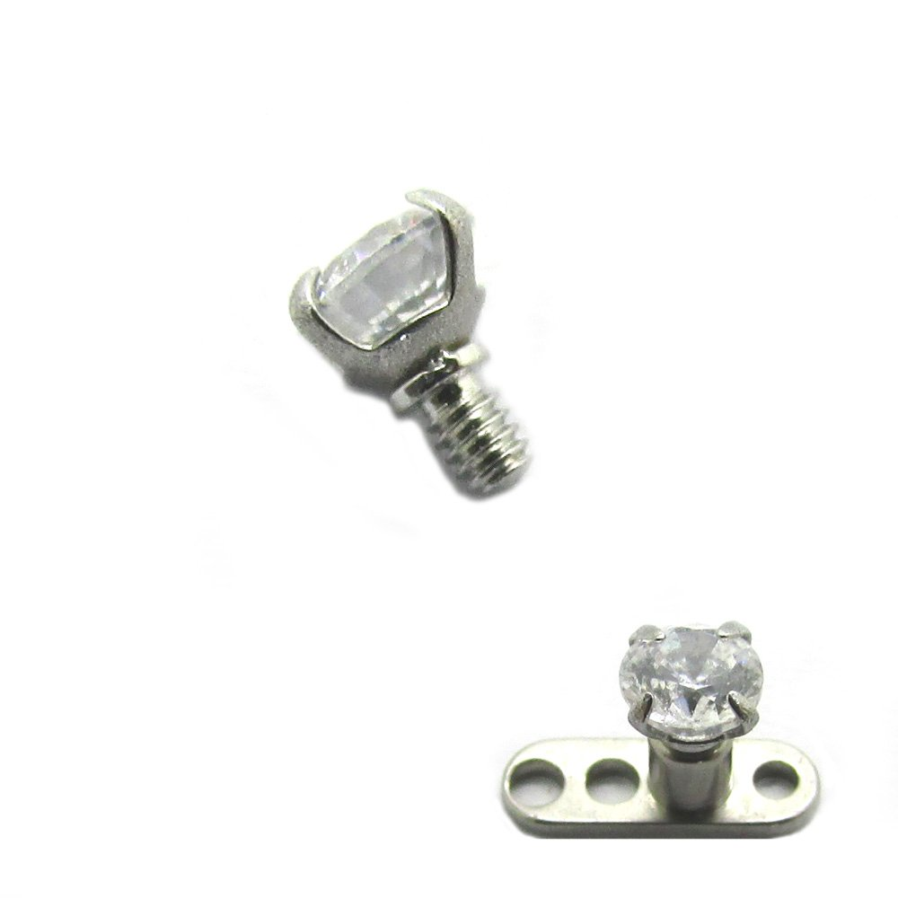 316L Steel Internally Threaded Prong Setting Round Flat Gem Micro Dermal Anchor Tops Replacement Head(Sold Individually)