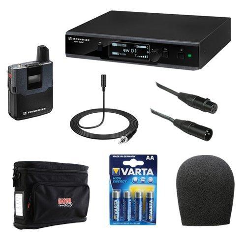 Sennheiser EW D1-ME2 Evolution Wireless D1 Digital Presenter System with ME2 Omnidirectional Clip-On Microphone Plus Wireless Microphone Accessory Kit by Sennheiser