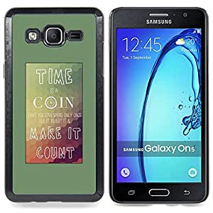 Time Coin Count Mountains Teal Poster Caja protectora de pl??stico duro Dise?¡Àado King Case For Samsung Galaxy On5 SM-G550FY G550