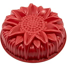 Marathon Housewares Premium Silicone Sunflower Cake Pan 34 PREMIUM QUALITY- HTV (High temperature vulcanization) and FDA approved silicone. EASY STORAGE- Flexible and retains original shape. Fold or roll for convenient storage. EASY TO USE- Effortless baking and cleaning. Easy release non-stick gourmet silicone bakeware.