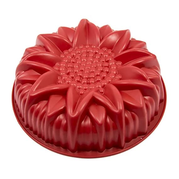 Marathon Housewares Premium Silicone Sunflower Cake Pan 1 PREMIUM QUALITY- HTV (High temperature vulcanization) and FDA approved silicone. EASY STORAGE- Flexible and retains original shape. Fold or roll for convenient storage. EASY TO USE- Effortless baking and cleaning. Easy release non-stick gourmet silicone bakeware.