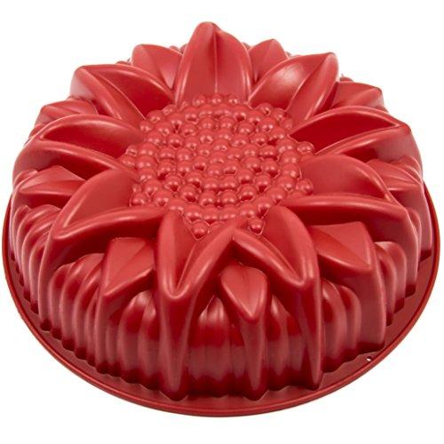 Marathon Premium Silicone Sunflower Cake Pan. Color-Red. SKU-KW200023RD