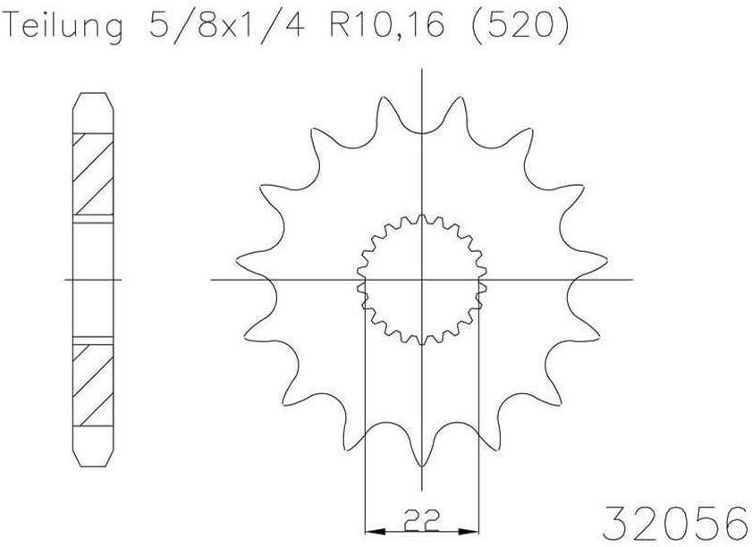 5//8x1//4 f/ür Aprilia RS 125 Replica RD000 2006-2012 Ritzel 15 Z/ähne Stahl 520er Teilung