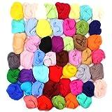 Md Trade Set of 50 Needle Felting Wool,Fibre Wool Yarn Roving for DIY Craft Materials