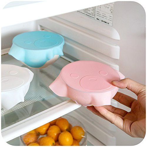 BWD Pack of 3 Silicone Lids White, Pink, Blue/Stretch Suction/Food Protector Huggers/Bowl Cup Cover/Food Savers/Bowls Stretch Covers/Storage Wraps/Food Safe Silicon