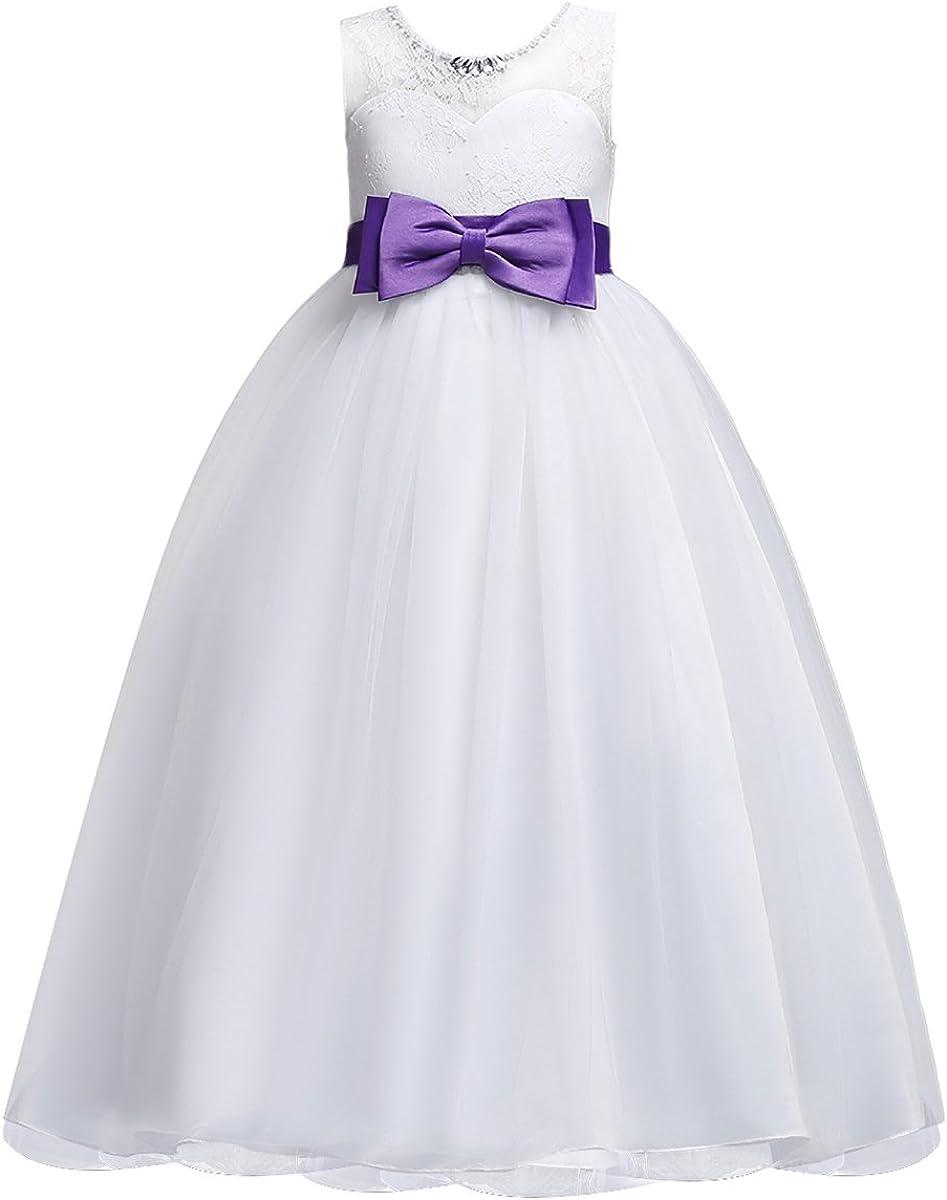 OBEEII Big Girl Lace Flower Tutu Dress First Communion Formal Bridesmaid Wedding Gown