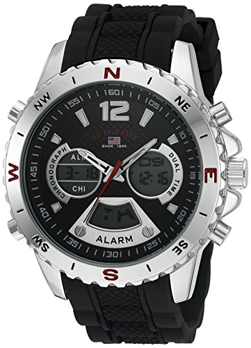 U.S. Polo Assn. Sport Men's Quartz Metal and Rubber Casual Watch, Color:Black (Model: - Models Male Polo
