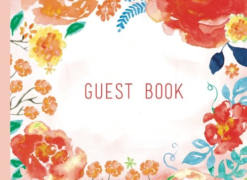 Download Guest Book: Vintage Orange Floral Watercolor Guestbook For Wedding, Birthday, Christening, And Baby Shower. (Elegant Events) pdf
