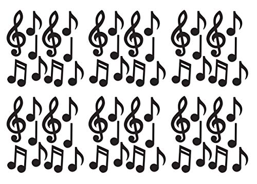(Beistle S54735-BKAZ6 Mini Musical Notes Silhouettes 60 Piece, 5.5