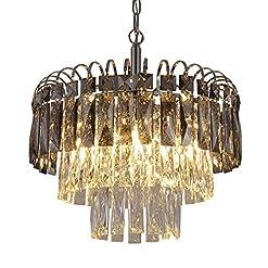 Interior Lighting Q&S Crystal Chandelier Lighting, Modern Chrome Chandeliers, K9 Crystal Smoky+Clear, 4 Lights Pendant Light Ceiling Light… modern ceiling light fixtures