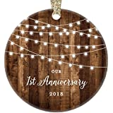 "1st Anniversary Gifts, 2018 Dated First Anniversary Married Christmas Ornament for Couple Mr & Mrs Rustic Xmas Farmhouse Collectible Present 3"" Flat Circle Porcelain with Gold Ribbon & Free Gift Box"