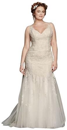 Davids Bridal Plus Size Melissa Sweet Illusion Tank Wedding Dress Style 8MS251150 Ivory