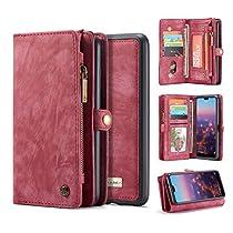 Huawei P20 Pro Wallet Case,Huawei P20 Pro Leather Wallet Case Flip Magnetic Detachable Case,Premium Cowhide Leather Purse Phone Cover with Flip Card Slots for Huawei P20 Pro (Huawei P20 Pro,Black)