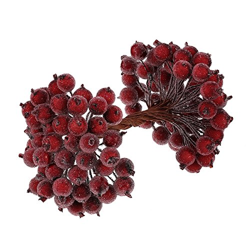 BBTO 100 Wired Stems of Artificial Holly Berries Artificial Flower Decor 200 Pack 12 mm Mini Christmas Frosted Fruit Berry (Dark Red)