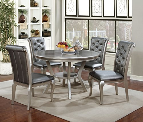 HOMES: Inside + Out Daniese Contemporary Dining Chair (Set of 2), Silver