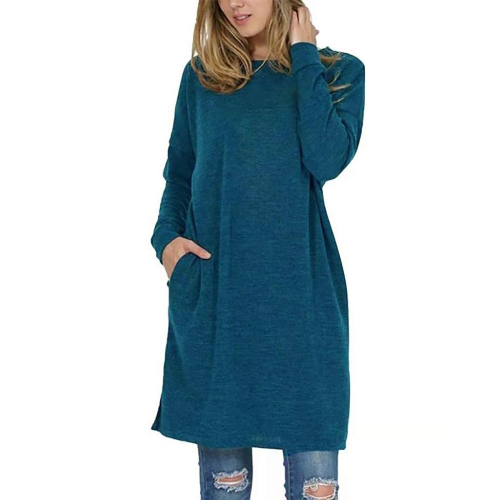 Womens Knitted Dress Long Sleeve Crewneck Solid Elegant Slim Fit Tunic Sweater Dress with Pocket