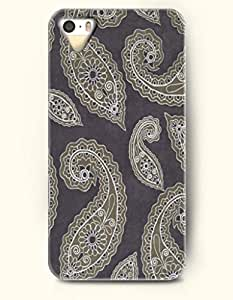SevenArc Apple iPhone 5 5S Case Paisley Pattern ( Olive Paisley Leaves in Dim Gray Background )