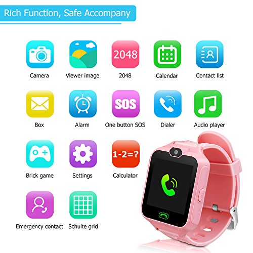 Kids Smart Watch Phone,Unlocked Waterproof Smart Phone Watch for Girls Boys with Camera Games Touchscreen,Children SOS Cell Phone Watch with SIM and SD Slot,Perfect Holiday Birthday Gifts(Pink) by MIMLI (Image #6)