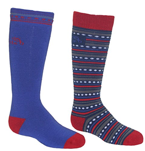 Bridgedale Merino Ski Socks (2-Pack), Small, Royal/Red ()
