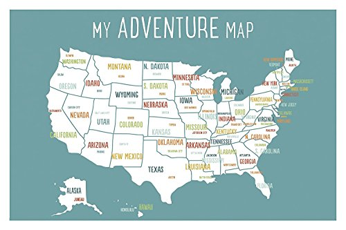 USA Adventure Wall Map Art Print, 24x36 Inch Print, Blue, Kid\'s USA ...