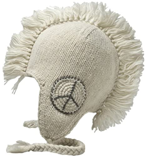 Nirvanna Designs CH82P Peace Mohawk Hat with Fleece, Black