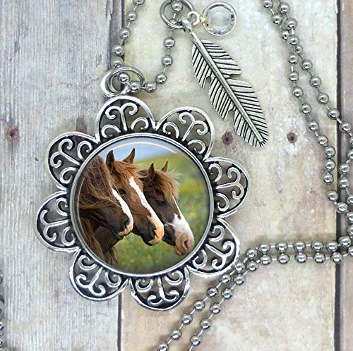 Horses, Love X3, Lovely Image Setting, choose a Necklace, Backpack Saddle Clip, Key Chain, or Purse Clip. Adorned with a Western Feather and a Clear Swarovski Crystal Drop. Packaged in a Cute Gift Bag