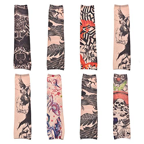Sleeve Tattoo,8 PCS Nylon Stretch Fake Tattoo Sleeve Design Body Art Arm Sunscreen Cuff Protective UV Stockings Non-Slip Accessories Suitable for Men and Women Outdoor Sports Random Color