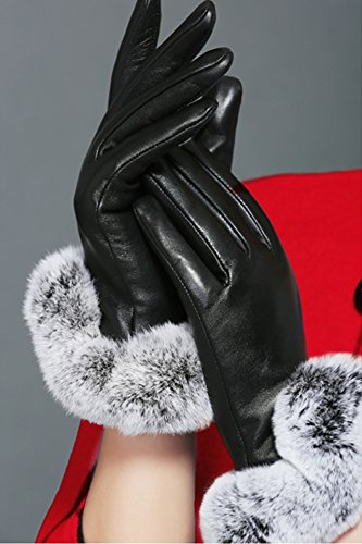 Generic touch_screen_ leather glove gloves women girls winter _cute hair fall President_ glove gloves _plus_velvet_thick_warm_riding_wind