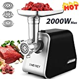 Kioles Electric Meat Grinder, 2000W Meat Grinder with 3 Grinders and Sausage Filling