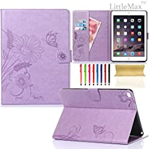 iPad Mini 4 Case,LittleMax Embossed Leather Butterfly&Flower Pure Color Series *Cards Slots* Stand Case with [Auto Wake/Sleep] Feature Smart Cover for Apple iPad Mini 4(2015 Release)-#Lightpurple