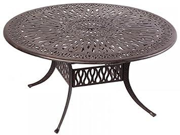 Elizabeth Outdoor Patio 60u0026quot; Round Dining Table Dark Bronze Cast  Aluminum