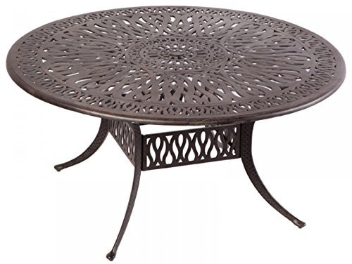 Elizabeth Outdoor Patio 60″ Round Dining Table Dark Bronze Cast Aluminum
