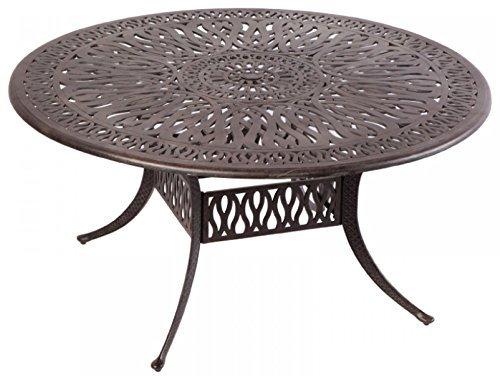 Elizabeth Outdoor Patio 60 Round Dining Table Dark Bronze Cast Aluminum