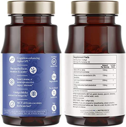 Focus Adaptogens for Cognition, Clear Thinking, Brain Fog Relief Alpha-GPC, Bacopa, Lion s Mane, Ginkgo Biloba, MCT Oil
