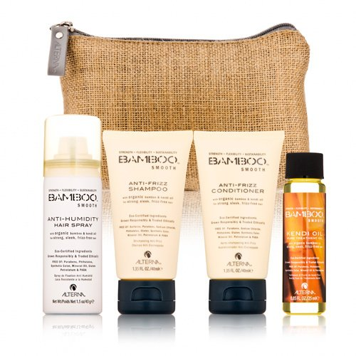 Alterna Bamboo Smooth On The Go Travel Kit Soin de Shampooing Démêlant/Conditionneur/Huile de Traitement/Spray Anti Humidité pour Cheveux 148 ml 61870