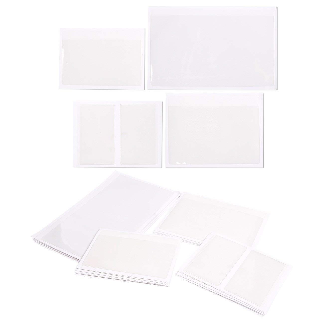 24 PCS Self-Adhesive Index Card Pockets Poly Pockets Labeling Pockets,6.50 x 5 Inch,8?5.12 x 3.94 Inch,8?3.94 x 2.36 Inch by GYWST