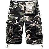 Okyae Mens Cotton Relaxed Fit Outdoor Camouflage Camo Cargo Shorts