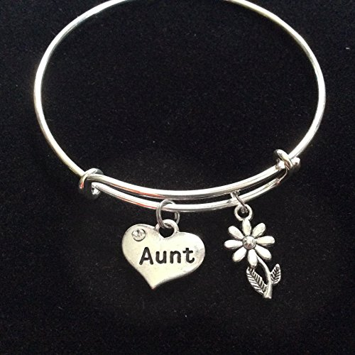 Aunt Silver Heart Stamped Expandable Charm Bracelet Gift Adjustable Bracelet Bangle Personalization Customized