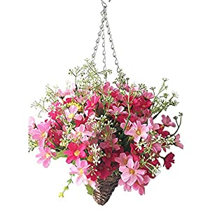 Lopkey Lifelike Artificial Daisy Flowers Outdoor Silk Daisy Indoor Patio Lawn Garden Mini Hanging Basket with Chain Flowerpot,Rose Red 84