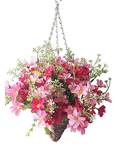 - Lopkey Lifelike Artificial Daisy Flowers Outdoor Silk Daisy Indoor Patio Lawn Garden Mini Hanging Basket with Chain Flowerpot,Rose Red