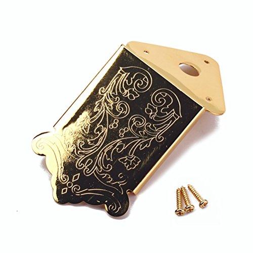 HEALLILY Mandolin Tailpiece Cigar Box Guitar Tailpiece with Cover Screws Gold