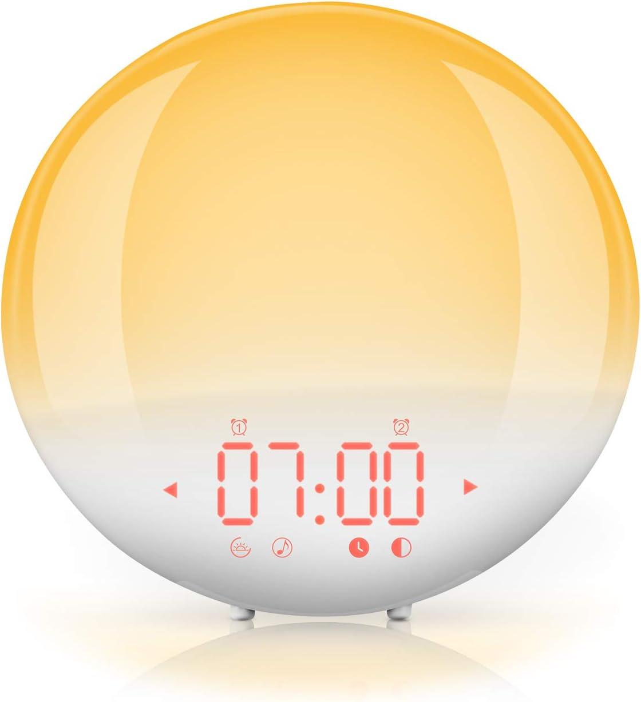 Wake Up Light, FM Radio Despertador Digital de Luz con Simulador de Amanecer con lámpara LED 6 Sonidos Naturales, 20 Tonos, 20 Brillos, Alarma Dual, 12/24 Hrs, Snooze, Puerto USB (Blanco)