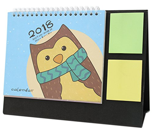 Cute Cartoon Animal 2018 Desk Stand Calendar with Color Sticky Notes Agenda Planner (Owl) (Owl Desk Calendar)