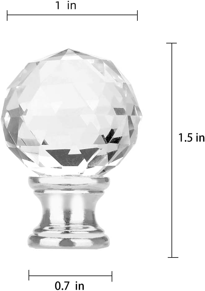 with Silver Aluminum Base Tootoo Star Threaded Diamond Crystal Lamp Shade Finial Decorative for Table or Floor Lamps