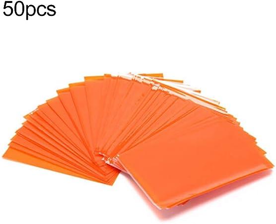nuiOOui131 – 50 fundas protectoras para cartas de juego de mesa transparente, color negro naranja: Amazon.es: Hogar