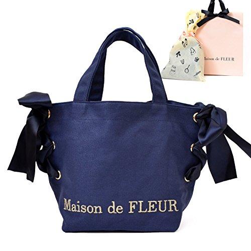 [セット品]ラッピング済MaisondeFLEURメゾンドフルール正規品サイドリボントートバッグショップバッグ付(ネイビー)